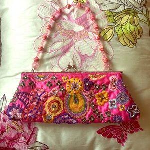 Beaded Formal Pink Handbag